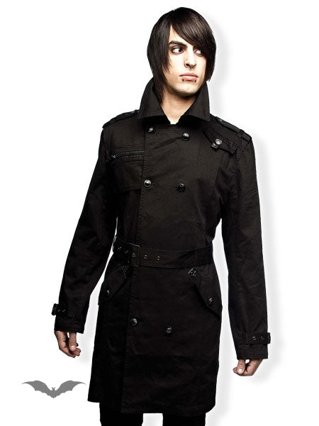 Queen of Darkness - Black Trenchcoat Style Winter Jacket