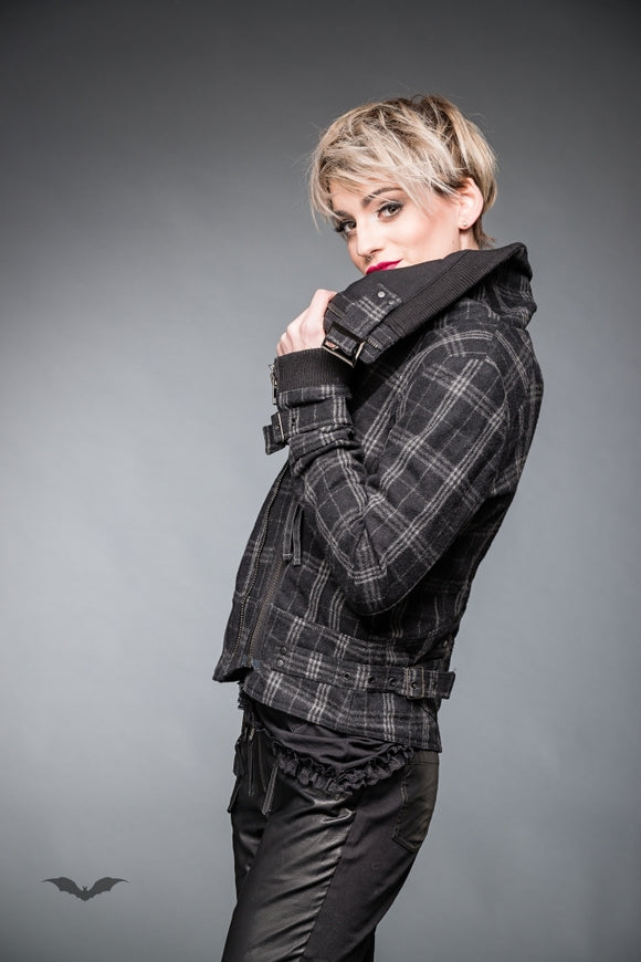 Queen of Darkness - Black & Grey Tartan Jacket with Buckles