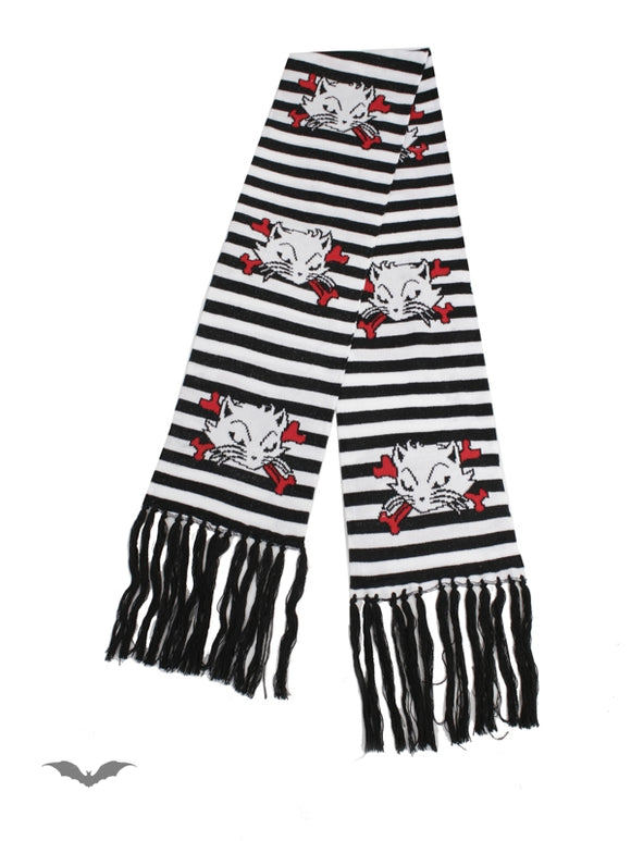 Queen of Darkness - Black & white striped scarf Kats & Bonez