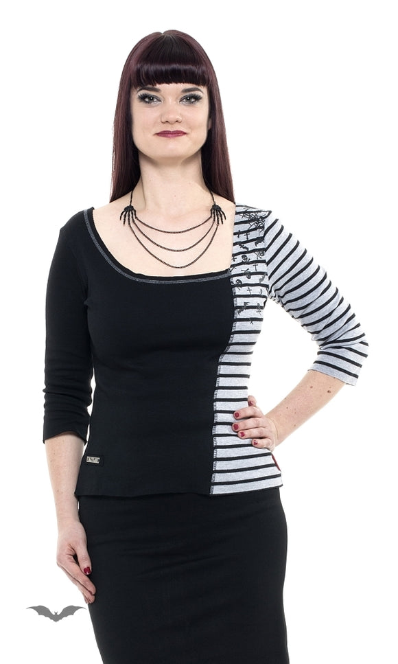 Queen of Darkness - Black and grey shirt with stripes