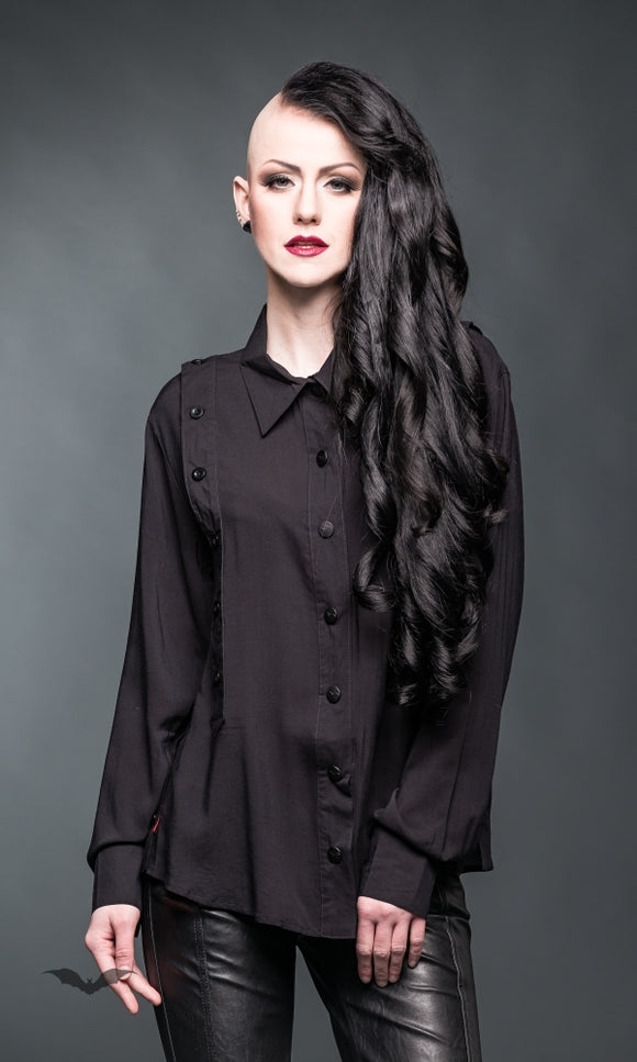 Queen of Darkness - Black blouse with decorative buttons