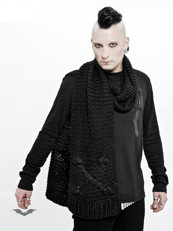 Queen of Darkness - Black knitted scarf with crossbone detailing