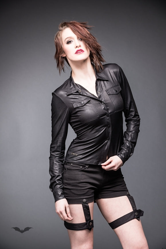 Queen of Darkness - Black leather-look blouse