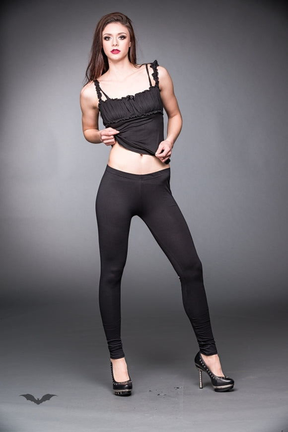 Queen of Darkness - Black leggings with lacing and bows prin