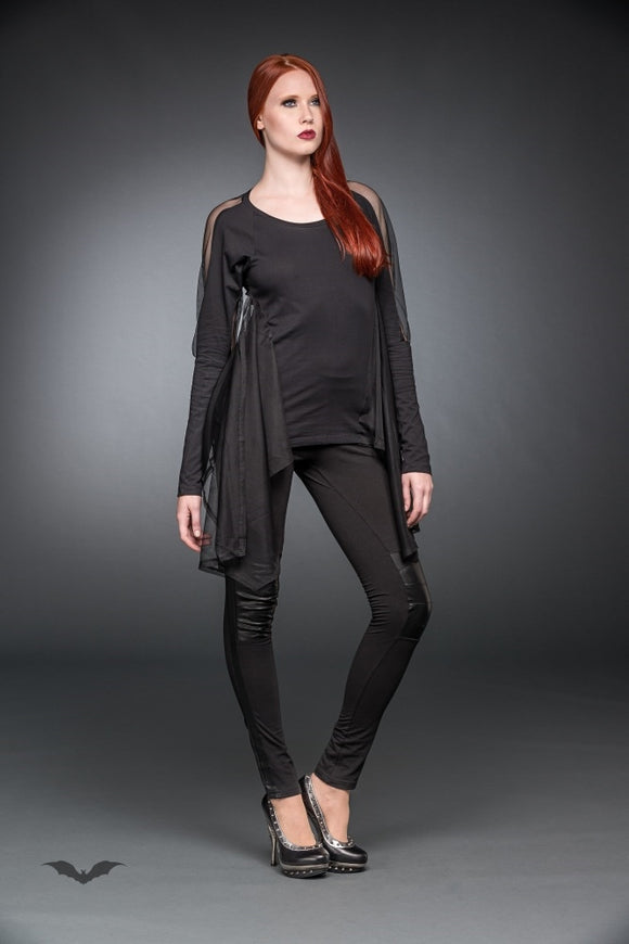 Queen of Darkness - Black long shirt with cape