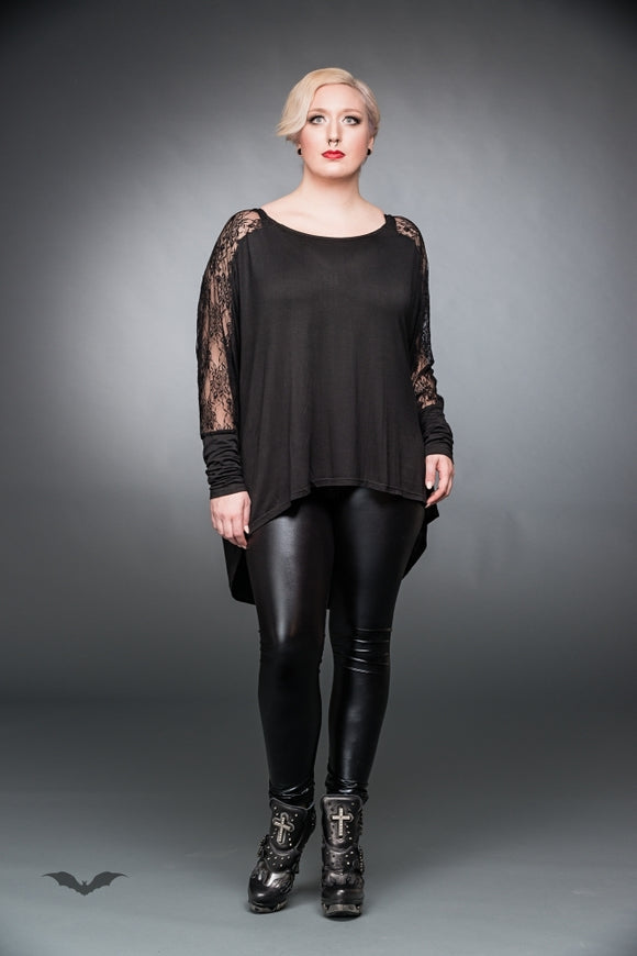 Queen of Darkness - Black long shirt with lace and rose patt