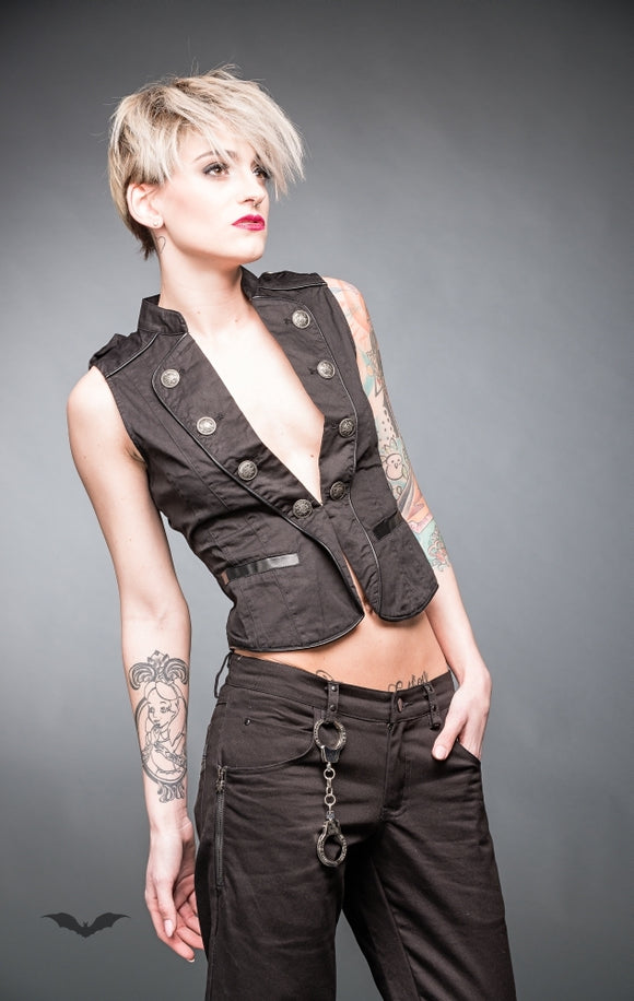 Queen of Darkness - Black military style vest