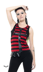 Queen of Darkness - Black/red striped top with latex cross