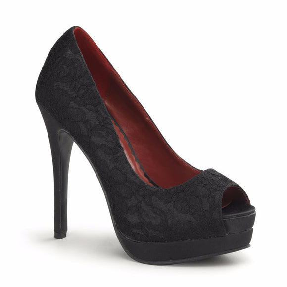 Pin Up Couture - Bella Black Satin Lace Overlay Peep Toe Heels - Egg n Chips London