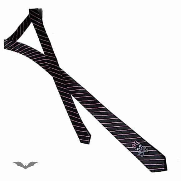 Queen of Darkness - Black tie with pink stripes and girly sk