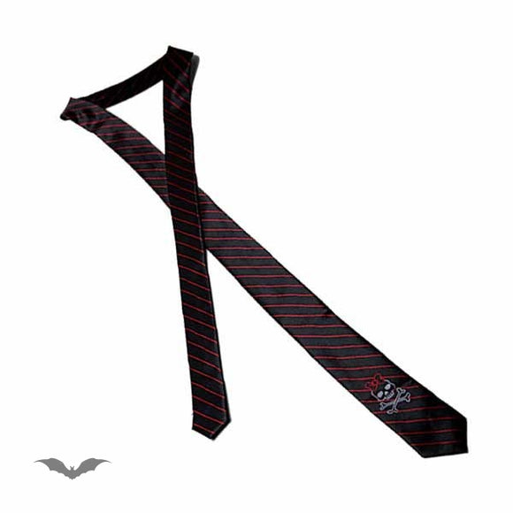Queen of Darkness - Black tie with red stripes and girly sku