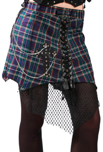 Blue/Green - Dead Threads - Blue and Green Tartan Skirt
