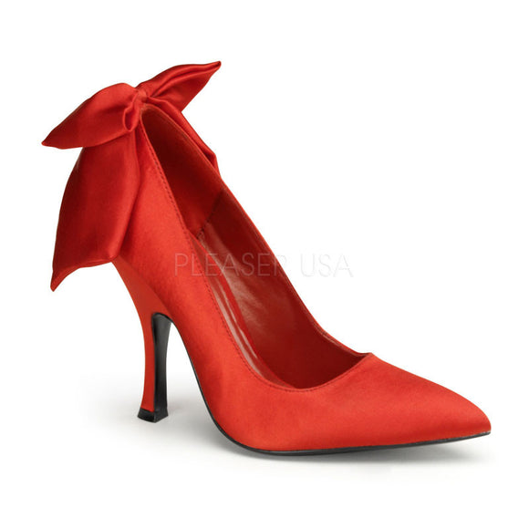 Pin Up Couture - Bombshell Red Satin Heel Pump - Egg n Chips London