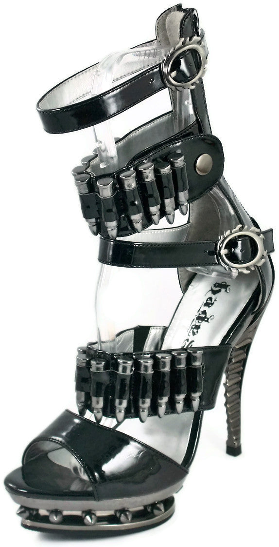 Hades Shoes - Bullet Black Stiletto Heels - Egg n Chips London