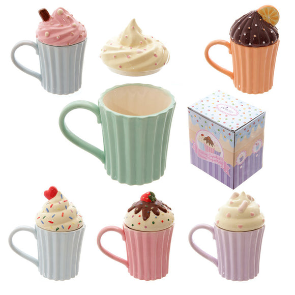 Egg n Chips London - Fun Ceramic Cute Cupcake Mug with Lid - Egg n Chips London