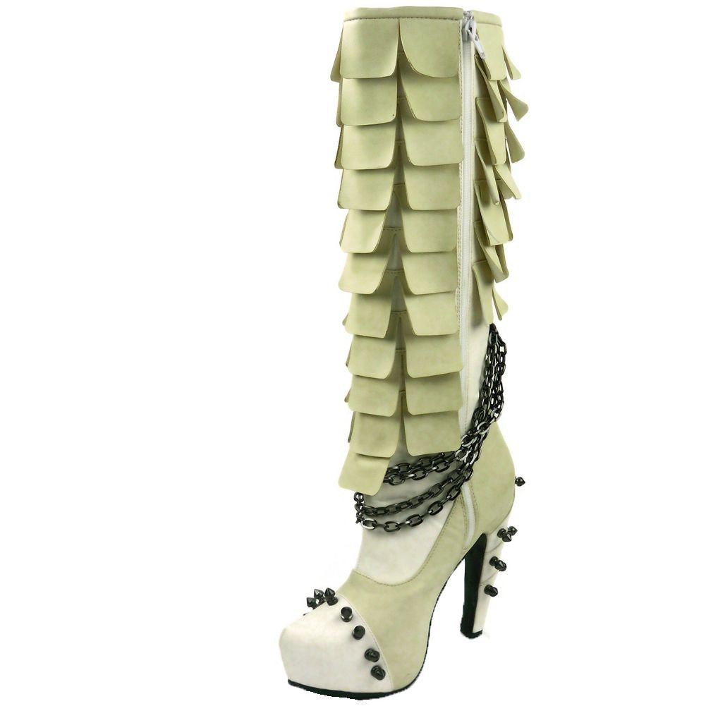 Hades Shoes - Caymene White Steampunk Boots - Egg n Chips London