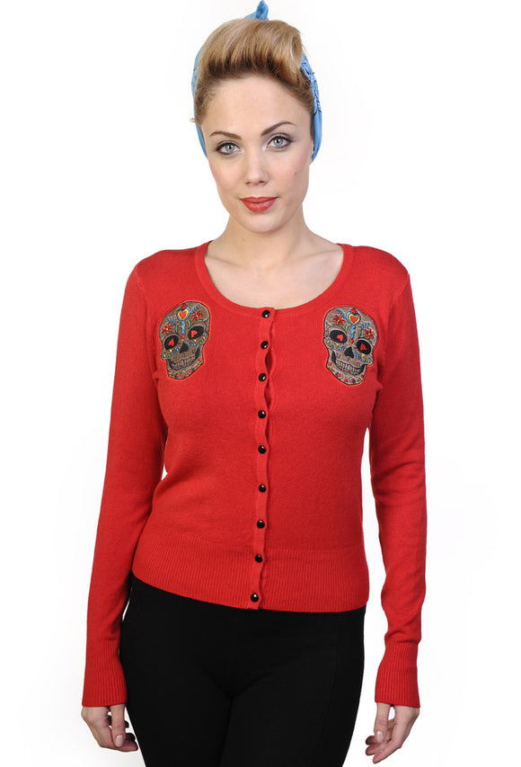 Banned Clothing - Sugar Skull Red Cardigan - Egg n Chips London
