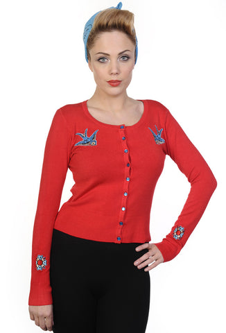 Banned Clothing - Blue Swallows Red Cardigan
