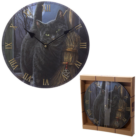 Egg n Chips London - Fantasy Black Cat and Broomstick Design Decorative Wall Clock