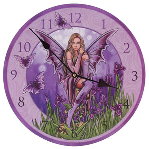 Egg n Chips London - Decorative Flower Fairy Purple Iris Wall Clock - Egg n Chips London