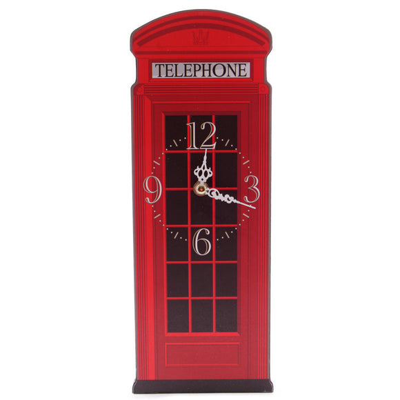 Egg n Chips London - Fun Red Telephone Box Shaped Decorative Wall Clock - Egg n Chips London