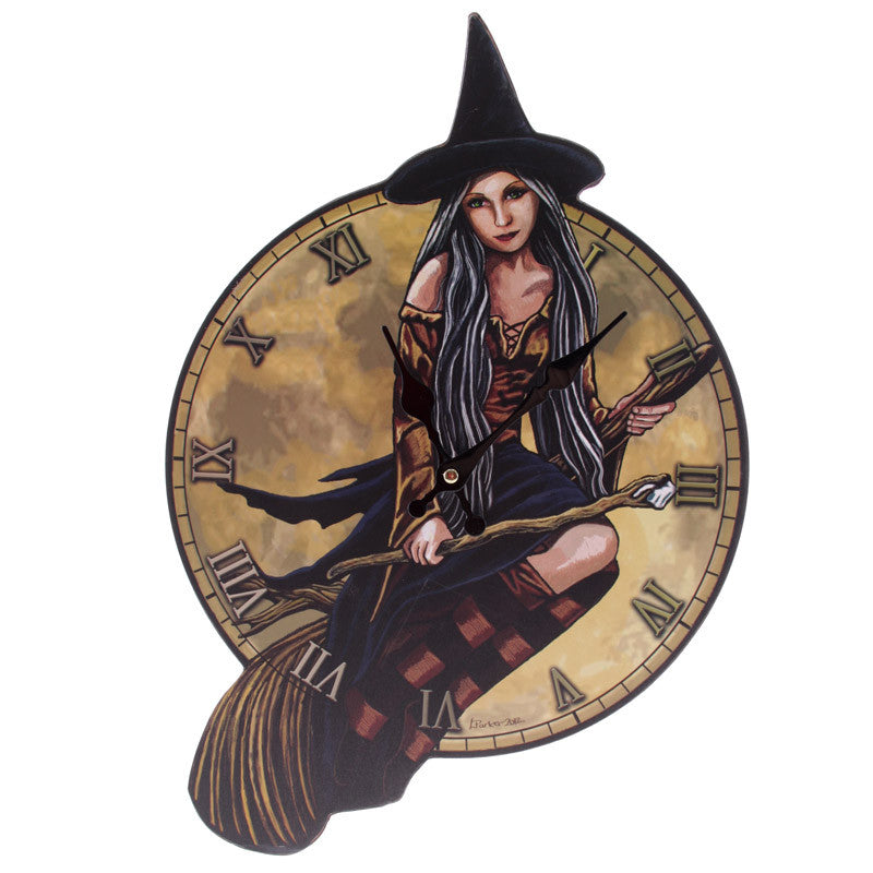 Egg n Chips London - Fantasy Witch on Broomstick Shaped Wall Clock - Egg n Chips London