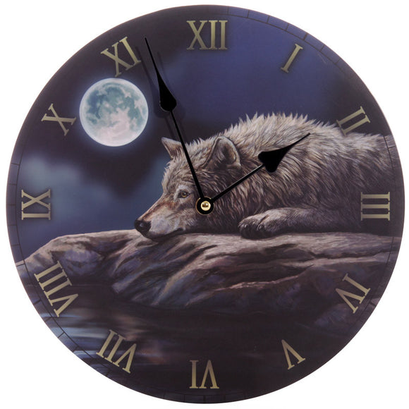 Egg n Chips London - Fantasy Quiet Night of the Wolf Decorative Wall Clock - Egg n Chips London