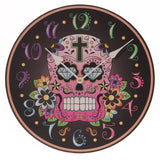 Egg n Chips London - Fun Black Background Day of the Dead Skull Wall Clock - Egg n Chips London