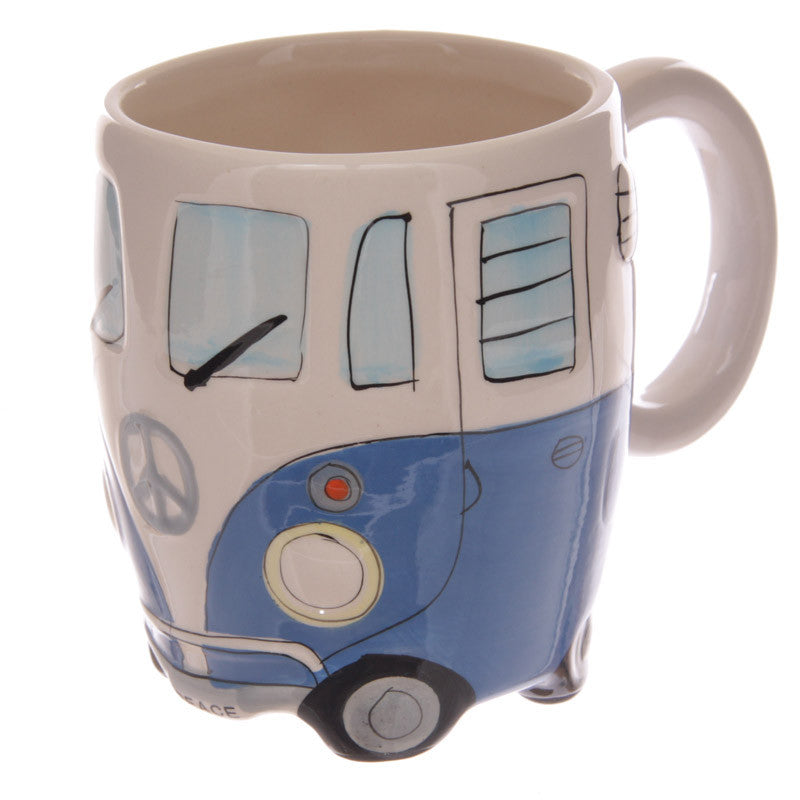 Egg n Chips London - Funky Novelty Blue Camper Van Design Ceramic Mug - Egg n Chips London