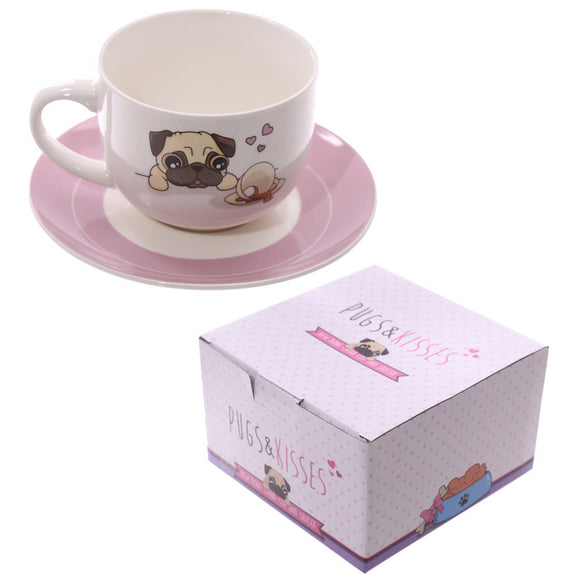 Egg n Chips London - Cappuccino Mug and Saucer - Pug - Egg n Chips London