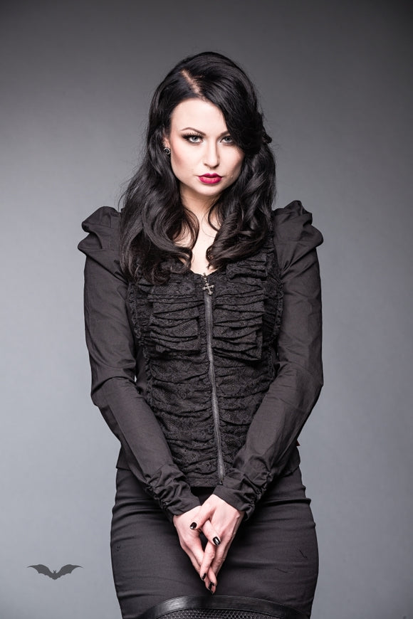 Queen of Darkness - Cardigan with lace and ruching