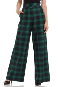 Voodoo Vixen - Carrie Green Plaid Trouser - Egg n Chips London