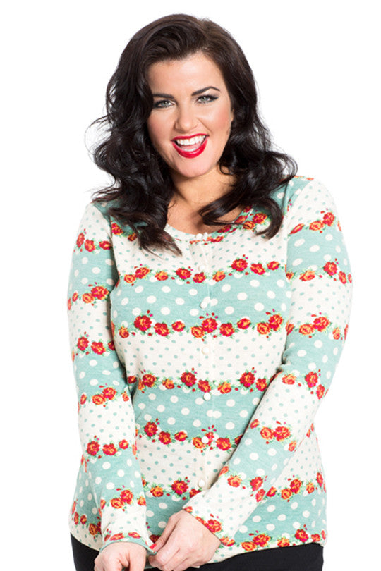 Voodoo Vixen - Charity Gorgeous Floral Patterned Soft Knit Cardigan - Egg n Chips London