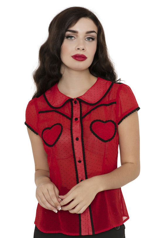 Voodoo Vixen - Cherry Ann Hearts and Polka Dots Blouse - Egg n Chips London