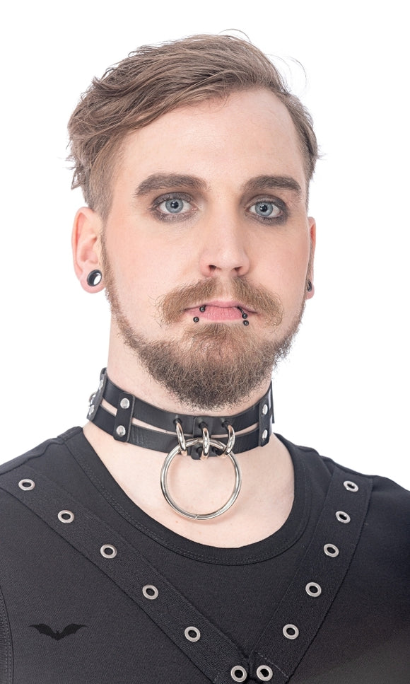 Queen of Darkness - Choker with big ring, adjustable size