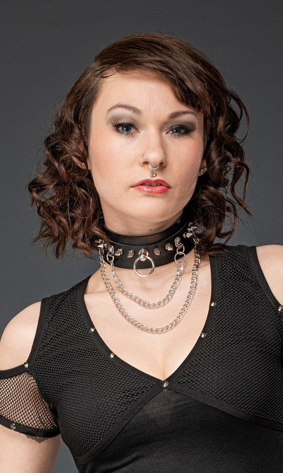 Queen of Darkness - Choker with ring and 2 chains, adjustabl