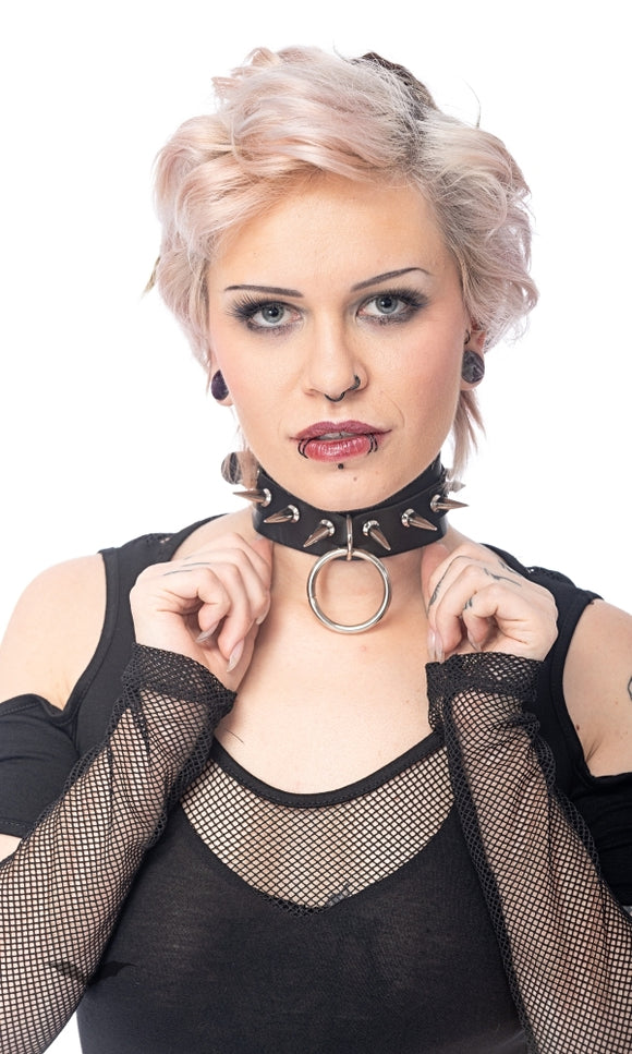 Queen of Darkness - Choker with ring and studs, adjustable s
