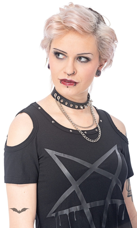 Queen of Darkness - Choker with studs and 2 chains, adjustab