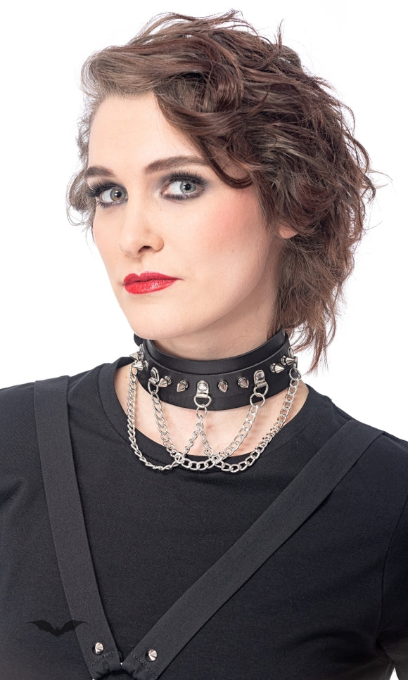 Queen of Darkness - Choker with studs and 3 chains, adjustab
