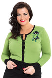 Voodoo Vixen - Clarissa Gorgeous Green Front Buttoned Cardigan Plus Size - Egg n Chips London