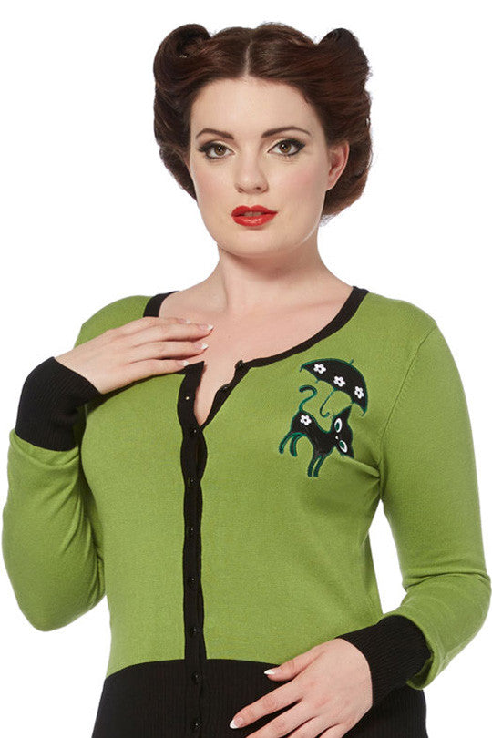 Voodoo Vixen - Clarissa Gorgeous Green Front Buttoned Cardigan - Egg n Chips London