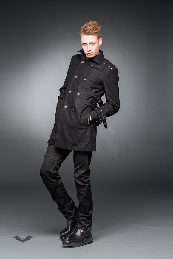 Queen of Darkness - Coat with high collar, buckles and big b