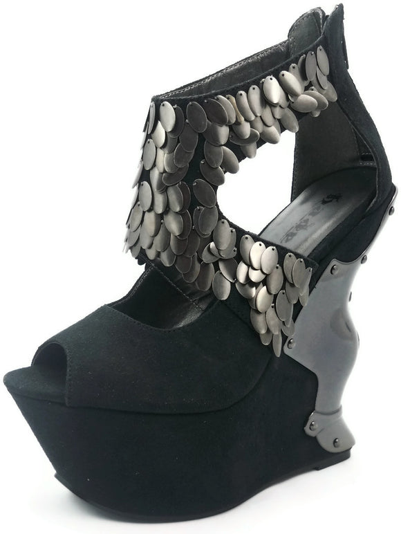 Hades Shoes - Cosmo Black Steampunk Wedges - Egg n Chips London