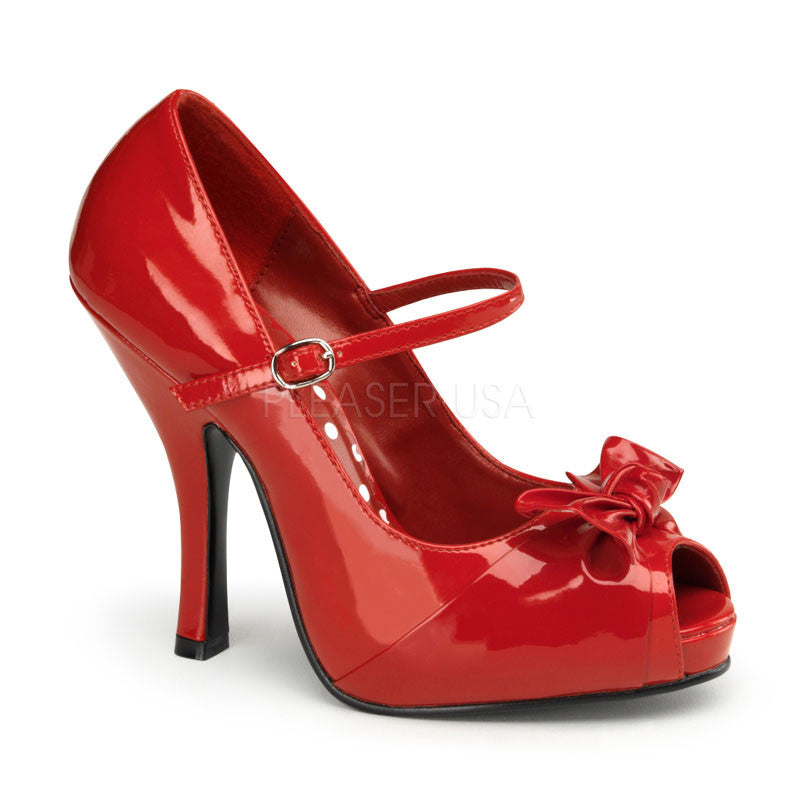 Pin Up Couture - Cutiepie Red Patent Peep Toe Heels