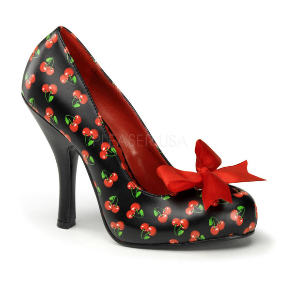 Pin Up Couture - Cutiepie Black-Red Pu Platform Pump with Cherries Print - Egg n Chips London