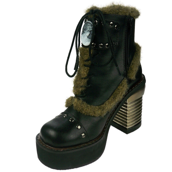 Hades Shoes - Daire Black Faux Fur Cameo Boots - Egg n Chips London
