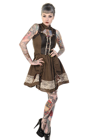 Banned Clothing - Brown Black Striped Steampunk Mini Dress