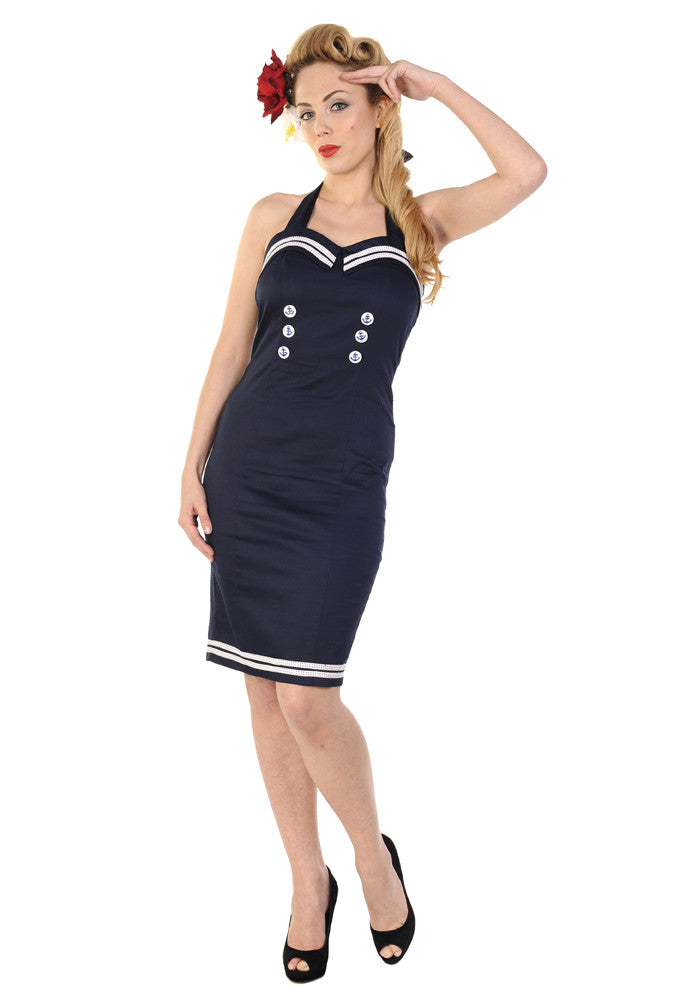Banned Clothing - Navy Blue Sailor Pencil Dress - Egg n Chips London