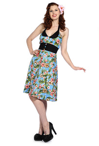 Banned Clothing - Blue Retro Floral Cocktail Dress - Egg n Chips London