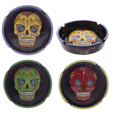 Egg n Chips London - Fun Colourful Day of the Dead Skull Ashtray